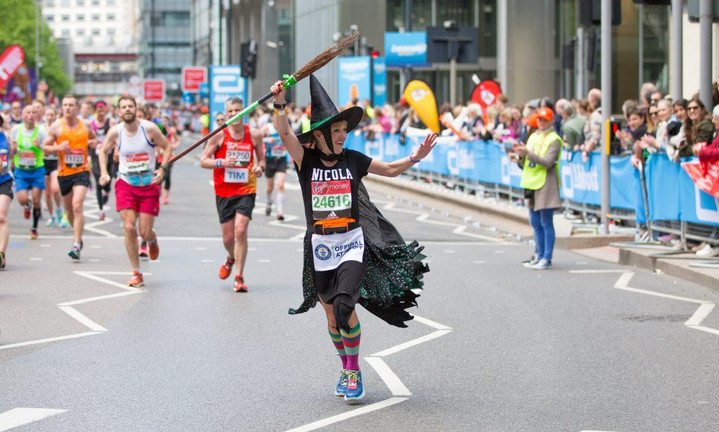 A runner running in fancy dress.