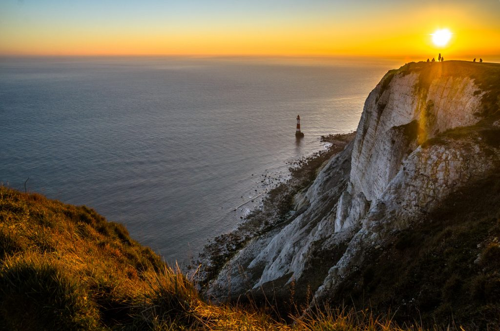 Sunset at Beachy Head in Sussex.