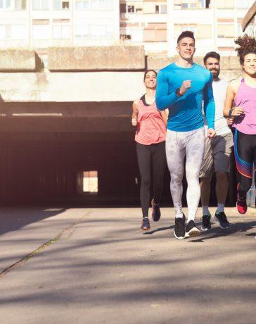 Friends enjoying a run together.