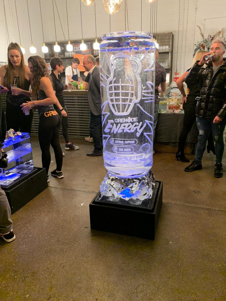 Grenade Energy drink launch ice sculpture